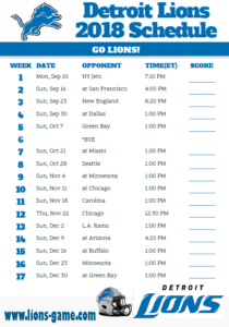 Detroit Lions schedule 2018